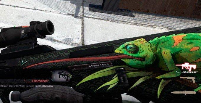 Funny AUG Chameleon skin name tag