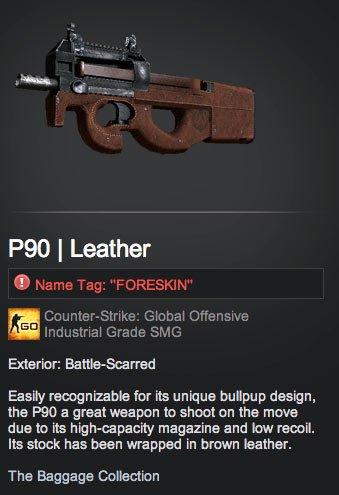 Funny P90 skin name tag
